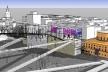 """Em evidência, praça elevada  do edifício """"andaime"""" (janela urbana) e conexões pela colina"""