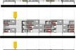 Conjunto de fachadas (em primeiro, vista posterior; em segundo, vista intermediária; em terceiro, vista frontal. Concurso Habitação para Todos.CDHU. Edifícios de 4 pavimentos- 2º lugar.<br />Autores do projeto  [equipe premiada]