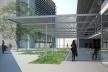 Centro de Referência em Empreendedorismo do Sebrae-MG, praça elevada, 2º lugar. Arquiteto Francisco Spadoni, 2008<br />Desenho escritório