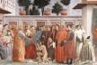 La resurrezione del figlio di Teófilo e San Pietro in cattedra, pintura começada por Masaccio (1427) e concluída mais tarde por Filippino Lippi <br />Imagem divulgação  [<i>Leon Battista Alberti, humanismo e racionalidades modernas</i>, p. 140]