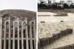 "À esquerda, muro protetor do Museo de Sitio Huaca Pucllana, Lima, distrito de Miraflores; à direita, estrutura em ""adobitos"" nas ruínas de Huaca Pucllana<br />Foto José Lira"