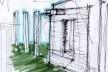 Croqui de estudo da fachada sul<br />Imagem dos autores do projeto