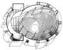 Totaltheater, Erwin Piscator e Walter Gropius. Perspectiva isométrica do interior