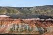 Camadas coloridas; na parte superior a oxidação esverdeada do solo. Bosque Petrificado, Sarmiento, Estado de Chubut, Argentina<br />Foto Diana Souza