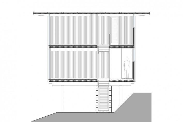Vila Taguaí, corte transversal das casas 2, 5 e 7, Carapicuiba SP, 2007-2010. Arquitetos Cristina Xavier (autora), Henrique Fina, Lucia Hashizume e João Xavier (colaboradores)