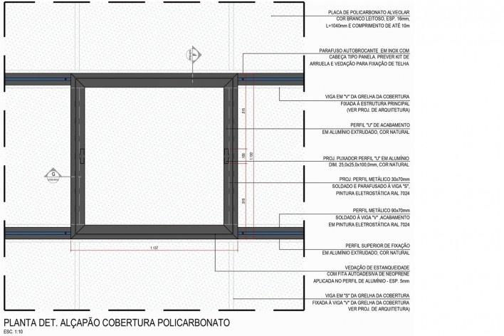 Arena da Juventude, detalhe da fixação do alçapão da cobertura em policarbonato, Parque Olímpico de Deodoro, Rio de Janeiro, RJ, Escritório Vigliecca & Associados<br />Imagem divulgação