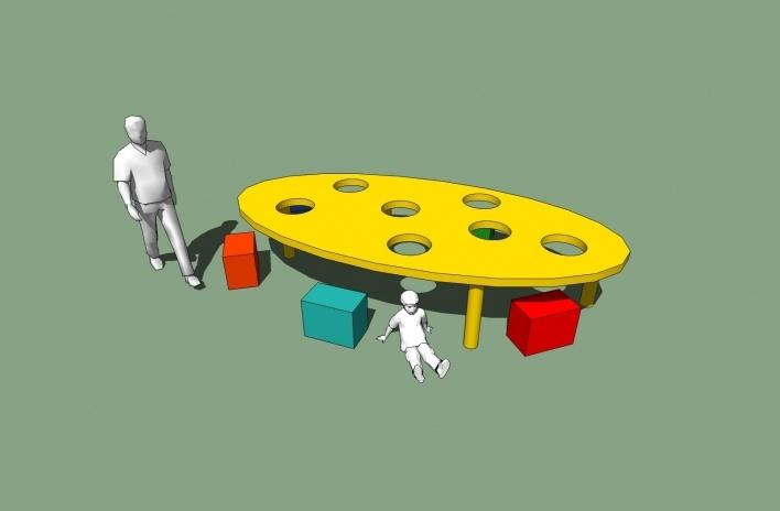 Modelo 3D - Mesa-Bola Grande<br />Imagem dos autores do projeto