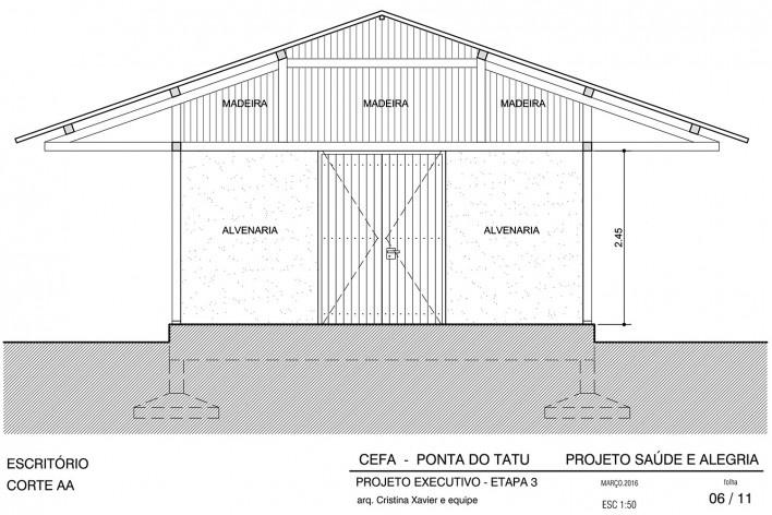 Centro Experimental Floresta Ativa - CEFA, corte transversal escritório, RESEX Tapajó-Arapiuns PA. Arquiteta Cristina Xavier<br />Imagem divulgação