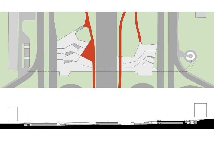 Implantação da proposta na passagem 105 norte. Concurso Passagens sob o Eixão. Primeiro colocado<br />divulgação