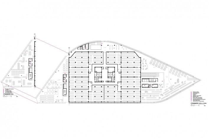 Concurso Anexo da Biblioteca Nacional, planta pavimento 2, Rio de Janeiro, 1º lugar, arquiteto Hector Ernesto Vigliecca Gani<br />Imagem divulgação
