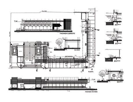 Planta, fachadas e cortes dos acessos<br />Imagens dos autores do projeto