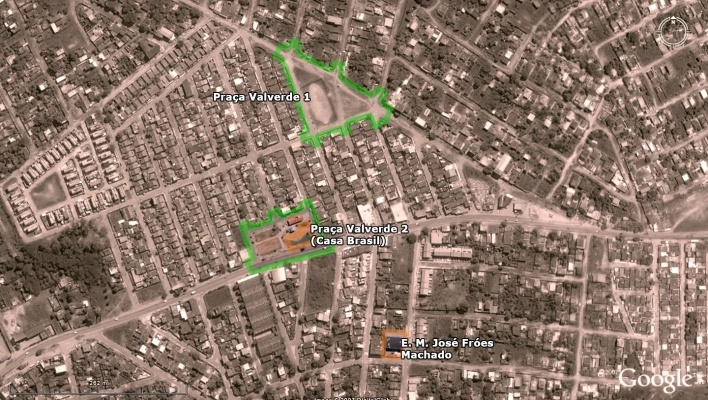 Vista aérea - Praça Valverde 1, Praça Valverde 2 (Casa Brasil) e E. M. José Fróes Machado<br />Imagem dos autores do projeto