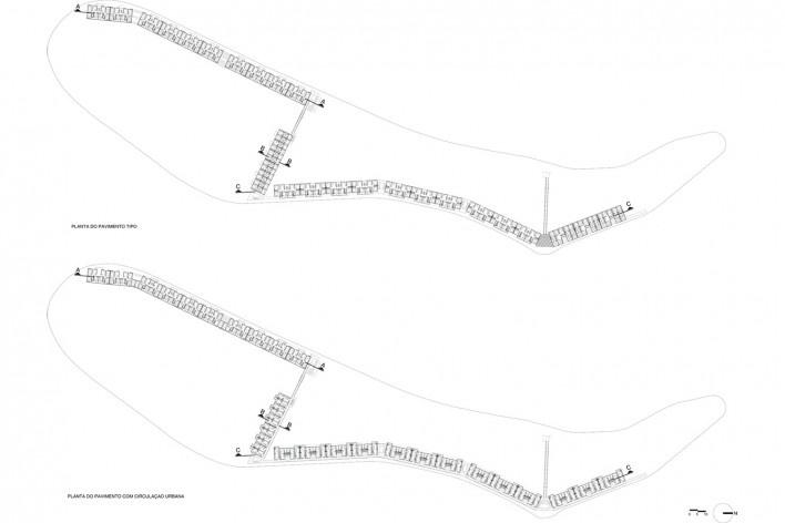 Parque Novo Santo Amaro V - Programa Mananciais, planta tipo, São Paulo SP Brasil, 2009 – 2012. Arquitetos Héctor Vigliecca, Luciene Quel, Neli Shimizu e Ronald Fiedler Werner / Vigliecca & Associados<br />Imagem divulgação  [Acervo Vigliecca & Associados]