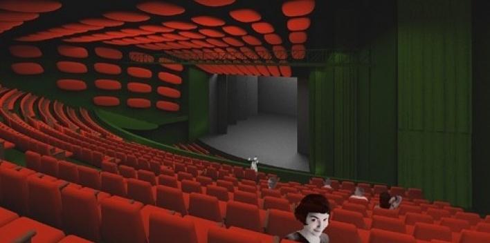 Vista do interior do grande teatro desde o balcão<br />Imagem do autor do projeto