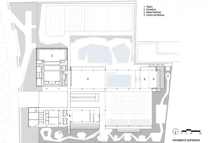 Sesc Guarulhos, planta pavimento superior, Guarulhos, 2019. Arquitetos Lilian Dal Pian e Renato Dal Pian / Dal Pian Arquitetos<br />Imagem divulgação  [Acervo Dal Pian Arquitetos]