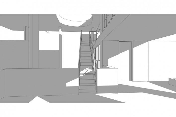 Casa Shodhan, vista interna do edifício, Ahmedabad, Gujarat, Índia, 1951-56. Arquiteto Le Corbusier<br />Modelo tridimensional Gabriel Johansson Azeredo / Imagem Edson Mahfuz