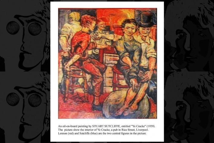 Reprodução da pintura de Stutcliffe, o quinto Beatle, de 1959 intitulado Ye Cracke, no balcão da frente aparece John (vermelho) e o próprio Stutcliffe (azul)<br />Foto Victor Hugo Mori