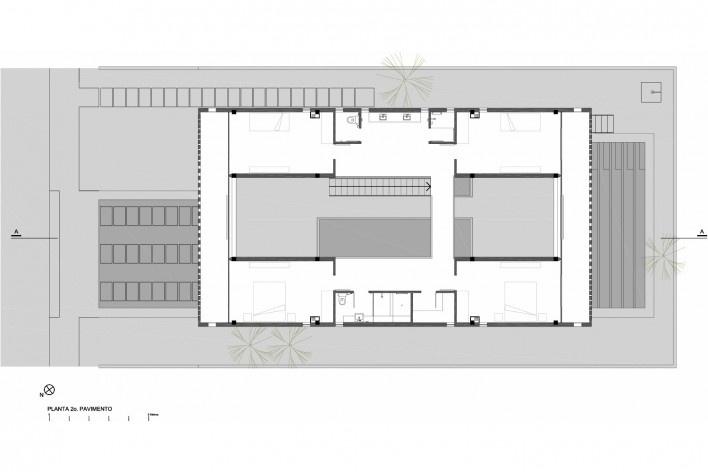 Residência KS, planta 2° pavimento, Natal RN, 2016. Arquitetos Alexandre Brasil, Paula Zasnicoff e Raquel Araújo<br />Imagem divulgação