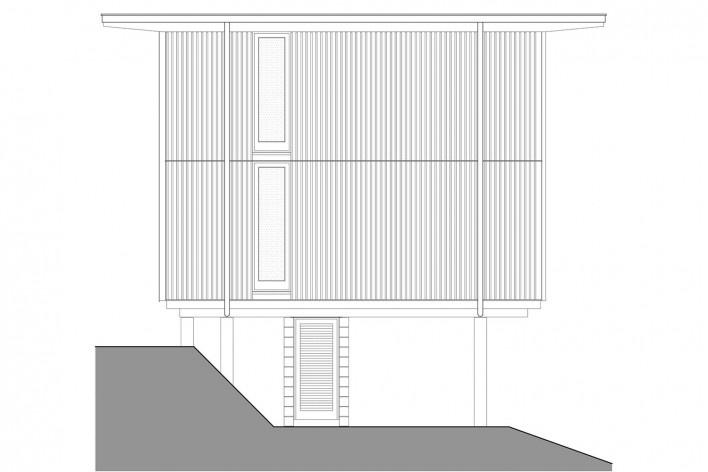 Vila Taguaí, elevação das casas 1, 4 e 6, Carapicuiba SP, 2007-2010. Arquitetos Cristina Xavier (autora), Henrique Fina, Lucia Hashizume e João Xavier (colaboradores)