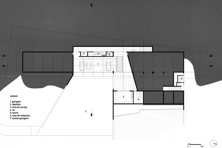 Residência Piracaia, planta subsolo, Piracaia SP Brasil, 2012-2014. Arquitetos Lua Nitsche e Pedro Nitsche <br />Imagem divulgação  [Nitsche Arquitetos Associados]
