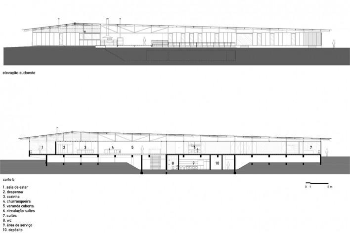 Residência Piracaia, elevação sudoeste e corte b, Piracaia SP Brasil, 2012-2014. Arquitetos Lua Nitsche e Pedro Nitsche<br />Imagem divulgação  [Nitsche Arquitetos Associados]