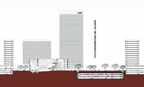 Corte transversal Largo da Batata - Teatro proposto<br />Autores do projeto