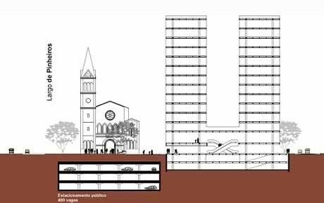 Corte transversal Largo de Pinheiros<br />Autores do projeto