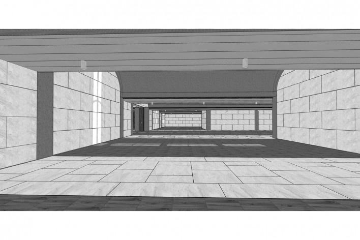 Museo de Arte Kimbell, vista interior, Fort Worth, Texas, EUA, 1972. Arquitecto Louis I. Kahn<br />Modelo tridimensional Miguel Bernardi / Imagem Edson Mahfuz