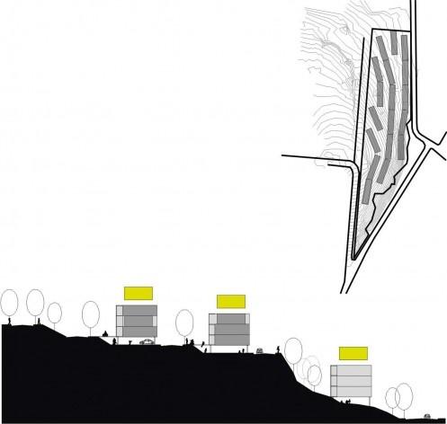 Exemplo de implantação em terreno de grande inclinação. Concurso Habitação para Todos.CDHU. Edifícios de 4 pavimentos- 2º lugar.<br />Autores do projeto  [equipe premiada]
