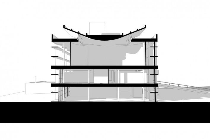 Associação da Indústria Têxtil, corte longitudinal, Ahmedabad, Gujarat, Índia, 1954. Arquiteto Le Corbusier<br />Elaboração/ Elaboración Edson Mahfuz
