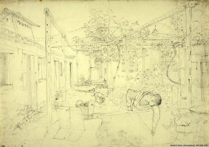 Brasil, uma edificação em construção em Goiás Velho, 19 jun. 1828<br />William John Burchell  [Collection Museum Africa, Johannesburg]