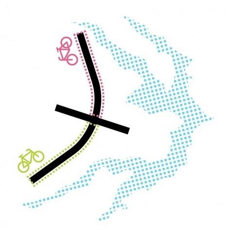 Diagrama das ciclovias do Eixão. Concurso Passagens sob o Eixão. Menção honrosa 03<br />divulgação