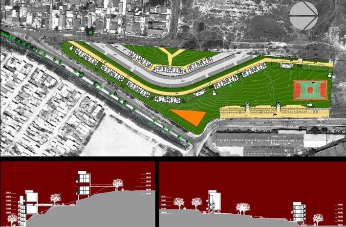 Implantação e Cortes - terreno de Taboão da Serra. Concurso Habitação para Todos. CDHU. Edifícios de 4 pavimentos - Menção honrosa.<br />Autores do projeto  [equipe premiada]