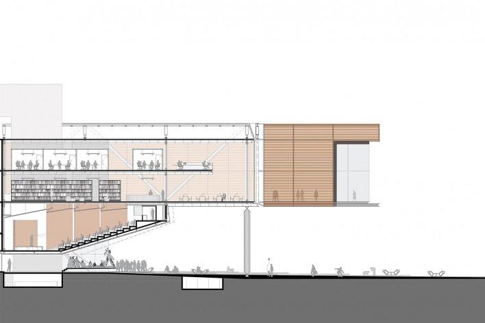 Concurso Anexo da Biblioteca Nacional, corte, Rio de Janeiro, 1º lugar, arquiteto Hector Ernesto Vigliecca Gani<br />Imagem divulgação