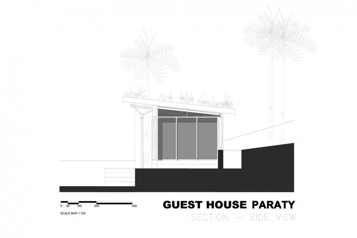 Guest House Paraty, corte, São Luiz do Paraitinga SP Brasil. CRU! Architects e Sven Mouton<br />Imagem divulgação  [Acervo CRU! Architects e Sven Mouton]