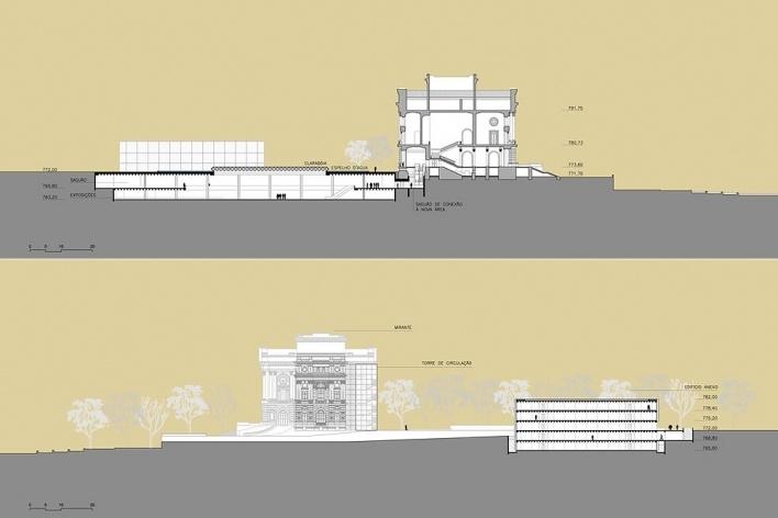 Ampliação do Museu Paulista da USP (Museu do Ipiranga), cortes AA e BB. Arquitetos Eduardo Colonelli e Silvio Oksman, 2008<br />Imagem escritório