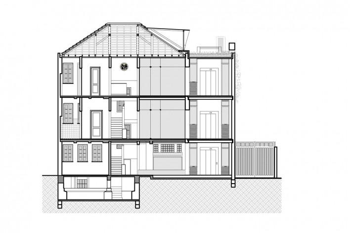 Casa Lutzenberger, corte longitudinal. Reforma Kiefer arquitetos
