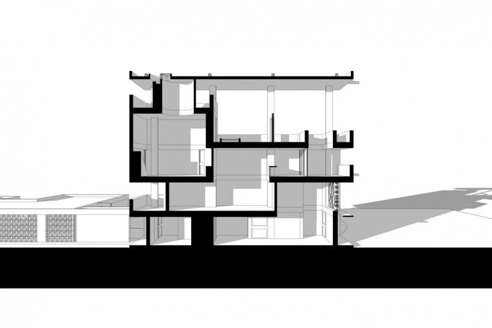 Casa Shodhan, corte longitudinal, Ahmedabad, Gujarat, Índia, 1951-56. Arquiteto Le Corbusier<br />Modelo tridimensional Gabriel Johansson Azeredo / Imagem Edson Mahfuz