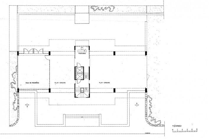 Edifício Osório de Carvalho,planta do pavimento térreo, Salvador BA, 1968<br />Imagem divulgação  [Arquivo Paulo Ormindo de Azevedo]