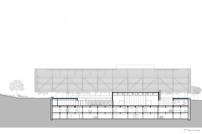 Nova sede da Confederação Nacional de Municípios – CNM, corte AA, Brasília DF, 2016. Arquitetos Luís Eduardo Loiola e Maria Cristina Motta / Mira Arquitetos<br />Desenho divulgação