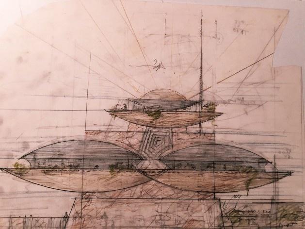 "Desenhos de Frank Lloyd Wright na mostra ""The Human Insect: Antenna Architectures 1887-2017""<br />Foto Ana Tagliari / Wilson Florio, 2018"