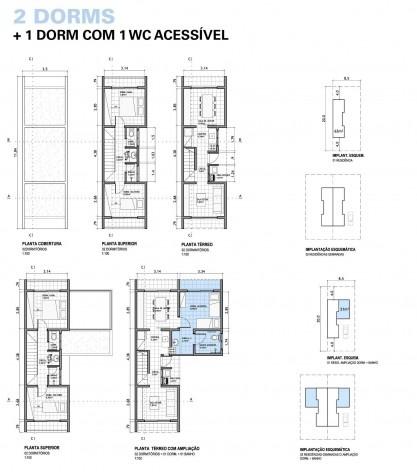 Plantas baixas da tipologia com 2 dormitórios e 2 dormitórios com acréscimo de mais um quarto e banheiro acessíveis no térreo. Concurso Habitação para Todos.CDHU.Sobrados - 2º Lugar.<br />Autores do projeto  [equipe premiada]