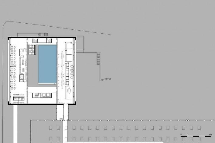 Museu Nacional dos Coches, planta do terceiro pavimento do anexo (restaurante e administração), Lisboa. Arquiteto Paulo Mendes da Rocha, MMBB arquitetos e Bak Gordon arquitetos<br />Imagem divulgação
