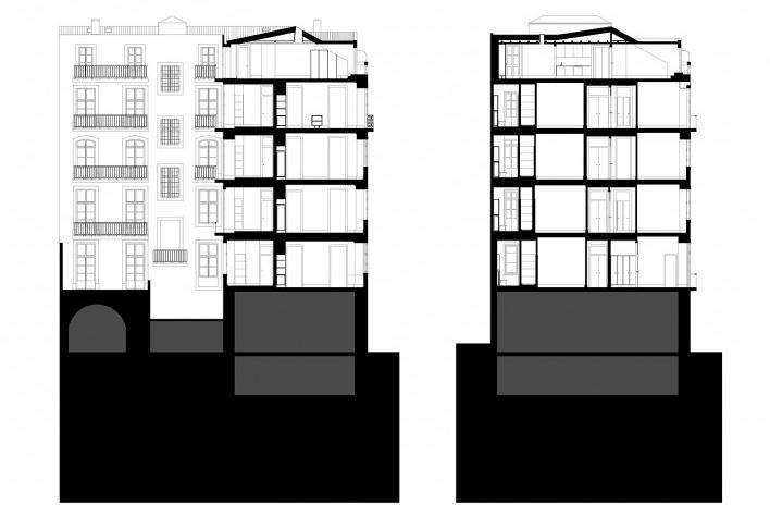 Edifício residencial em Fanqueiros, cortes após reforma. Arquiteto José Adrião, 2007-2011