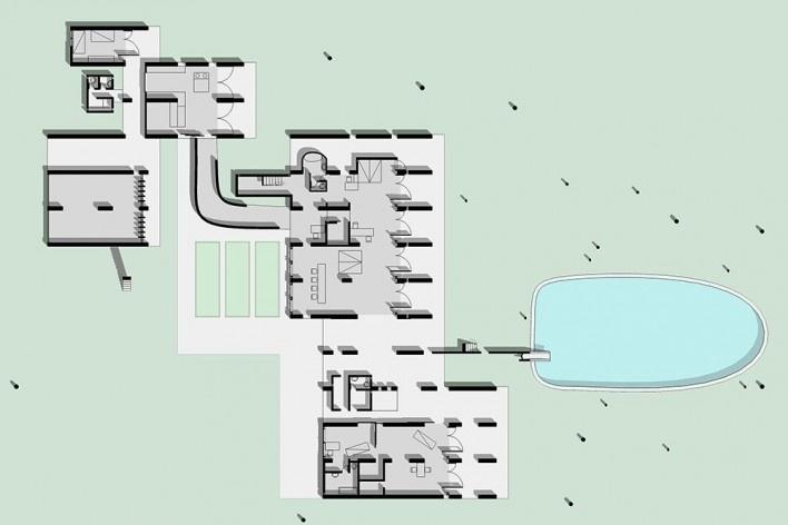 Casa Sarabhai, planta pavimento térreo, Shadibag, Ahmedabad, India, 1952-55. Arquiteto Le Corbusier<br />Elaboração Edson Mahfuz