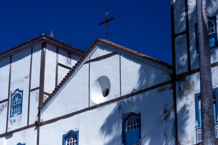 Aspect of the pediment with the towers of the Church of Nossa Senhora do Rosario<br />Foto Fabio Lima