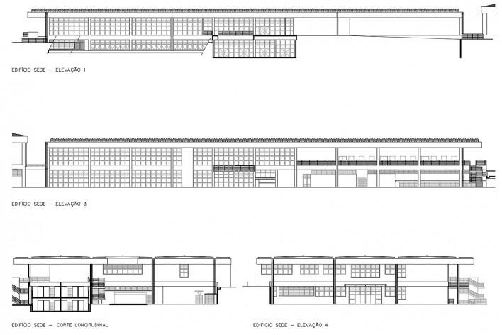 Sesc Araraquara, elevações e cortes, 2000. Arquitetos Abrahão Sanovicz e Edson Jorge Elito<br />Imagem divulgação