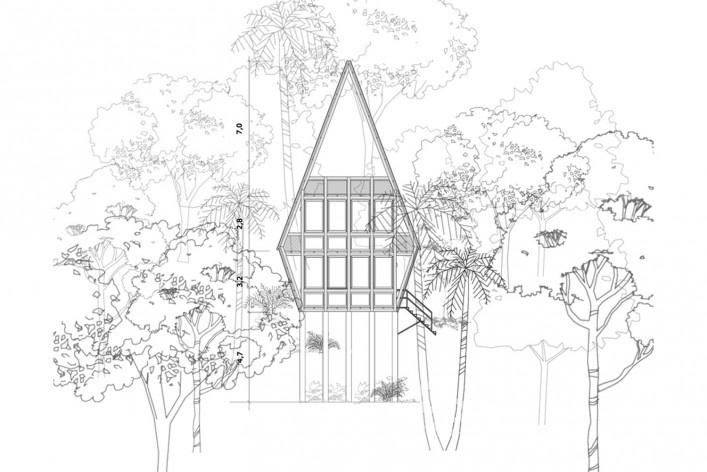 Monkey House, front elevation, Paraty RJ Brasil, 2020. Architect Marko Brajovic / Atelier Marko Brajovic<br />Imagem divulgação/ disclosure image  [Atelier Marko Brajovic]