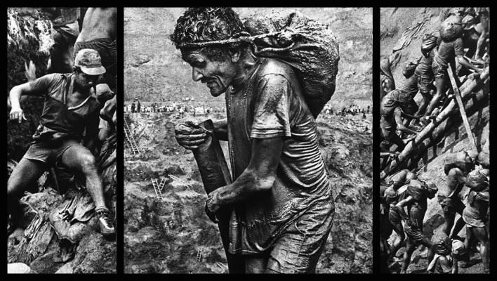 """""""O inferno de Bosch segundo Sebastião Salgado"""", tríptico 7, fragmentos da exposição fotográfica """"Gold – Mina de Ouro Serra Pelada""""<br />Fotomontagem de Abilio Guerra"""