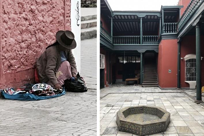 À esquerda, vendedora ambulante no distrito de Barranco, Lima; à direita, pátio interno de residência do final do século 18, atual sede do Instituto Riva Agüero, Lima, Centro<br />Foto José Lira